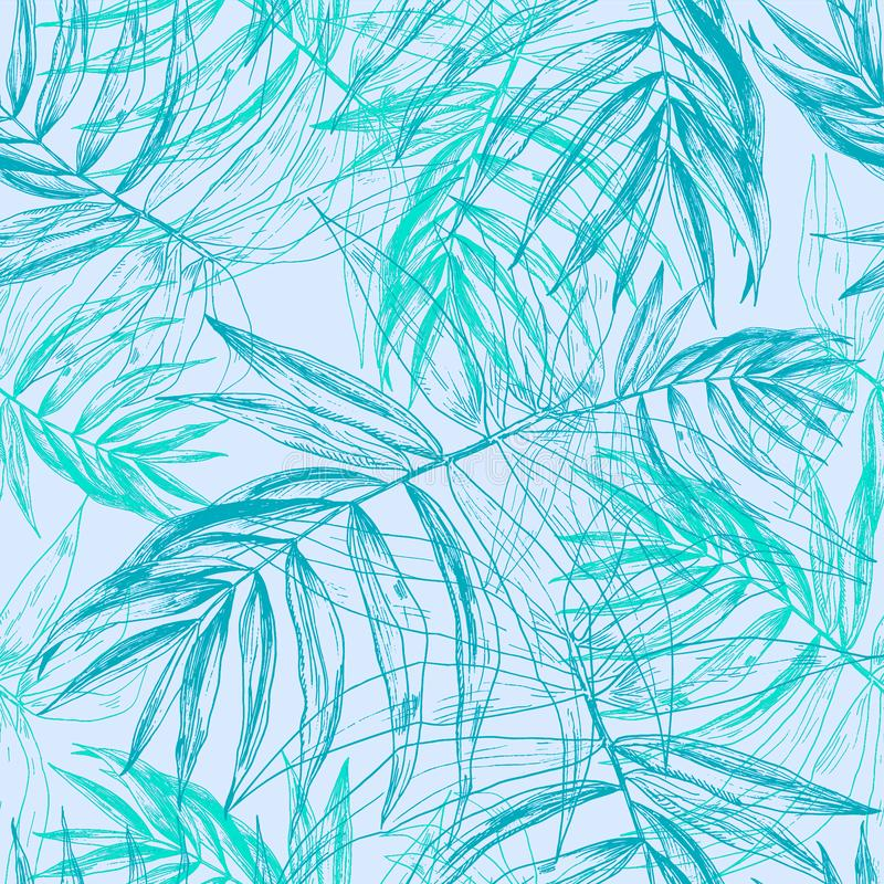 Green blue tropical palm leaves, jungle leaf seamless floral pattern on llight pastel blue background royalty free illustration