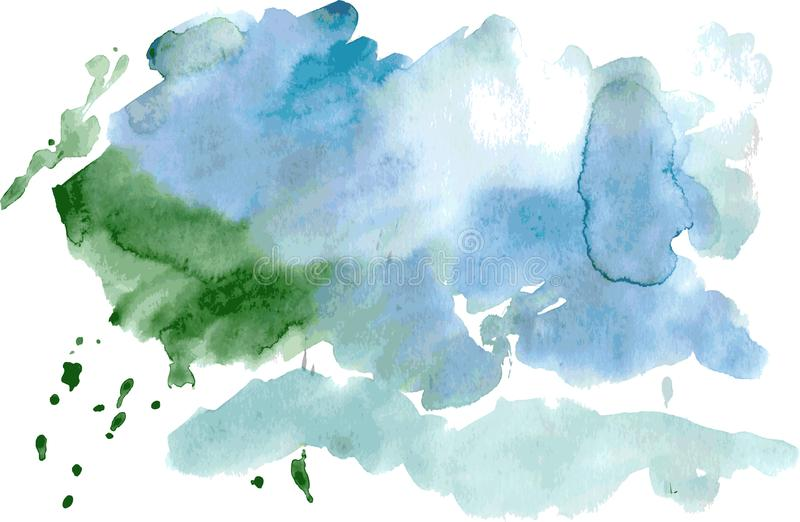 Green blue watercolor stain isolated on white background. Vector stock illustration