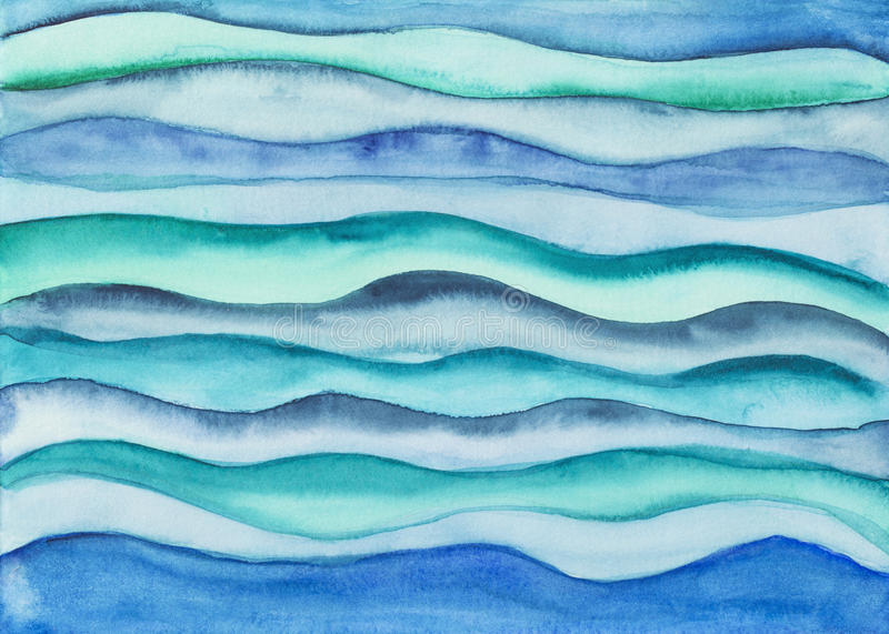 Green and blue waves. Watercolor illustration with green and blue waves vector illustration