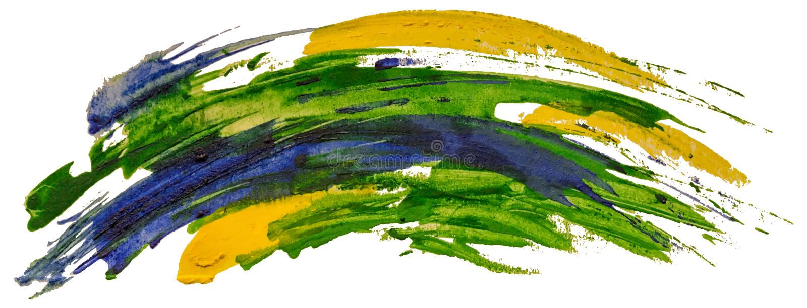 Green, blue and yellow watercolor texture paint stain brush stroke. stock illustration
