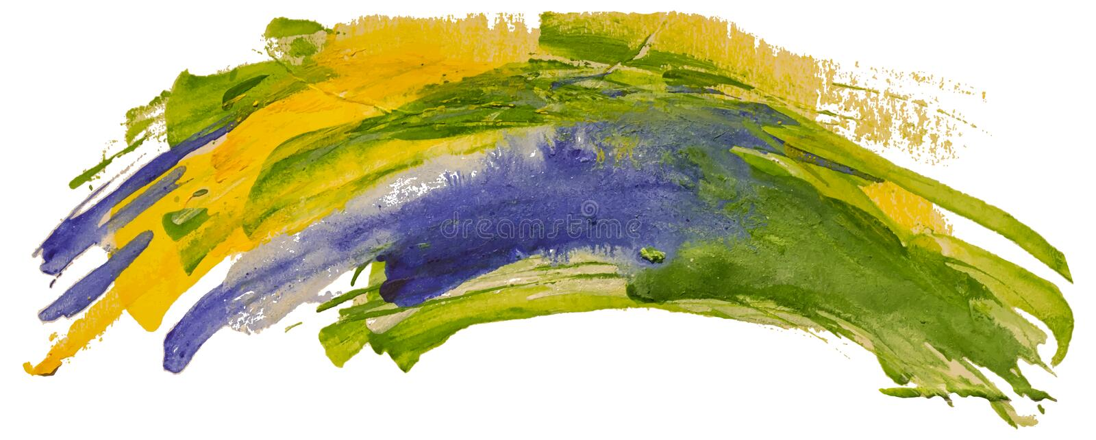 Green, blue and yellow watercolor texture paint stain brush stroke. vector illustration