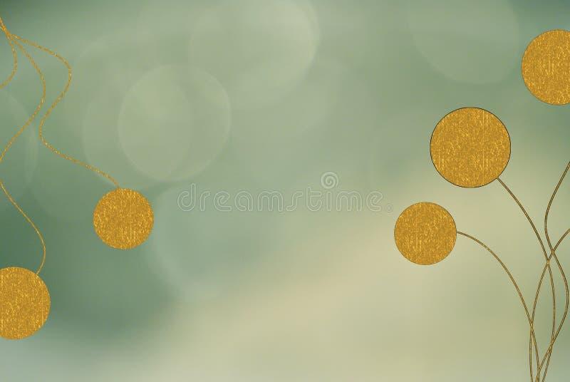Green blur background gold swirls. A light green blur background with big gold swirls and circles patterns vector illustration