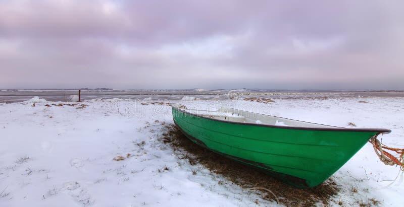 Green Boat On Beach Stock Photos