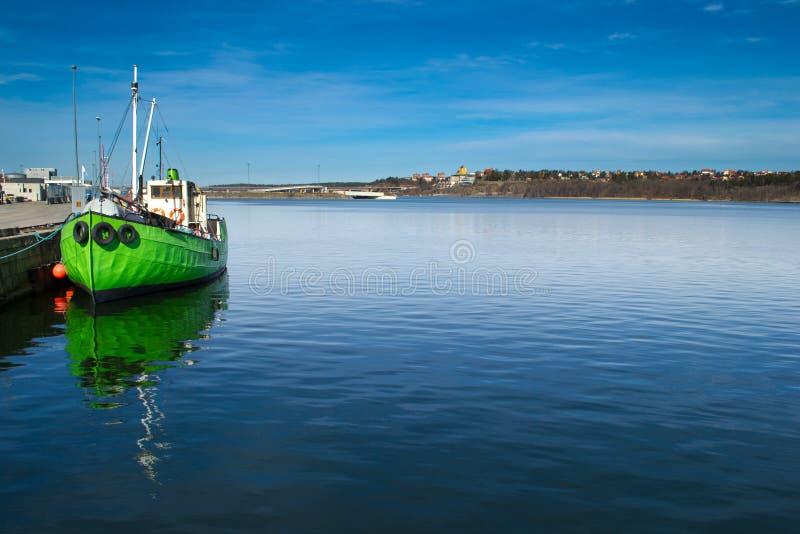Green Boat At Dock Stock Image
