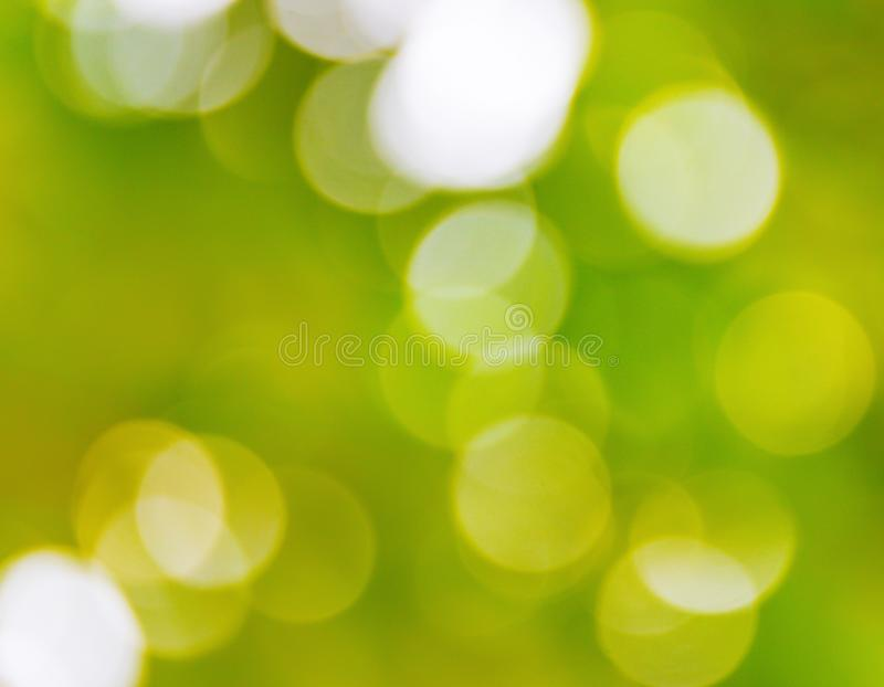 Green bokeh natural color abstract blurred background Warm leaf of tree and bright summer sunlight.  royalty free stock photo