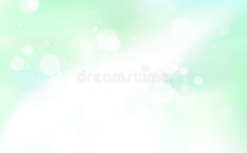 Green Bokeh, stars light, nature dust glowing explosion concept, blurry sparkle season abstract background vector illustration royalty free illustration