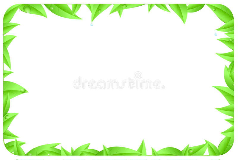Green border made of leaves with space text vector illustration