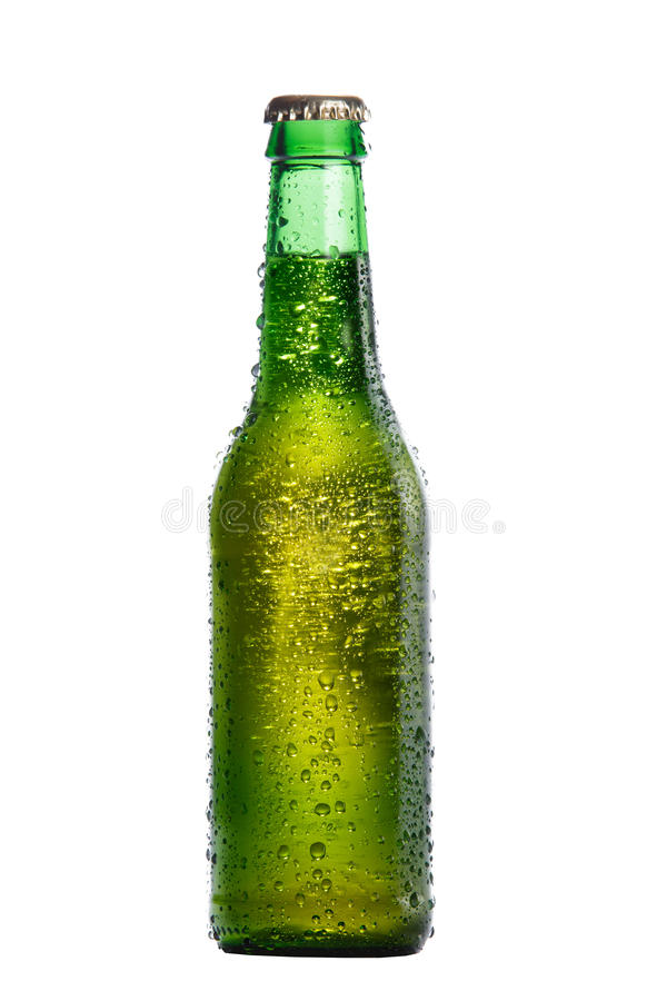 Green bottle of cold beer stock photos