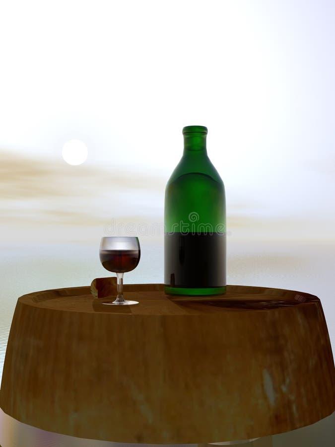 Green Bottle and Glass of Wine. On Barrel Keg vector illustration