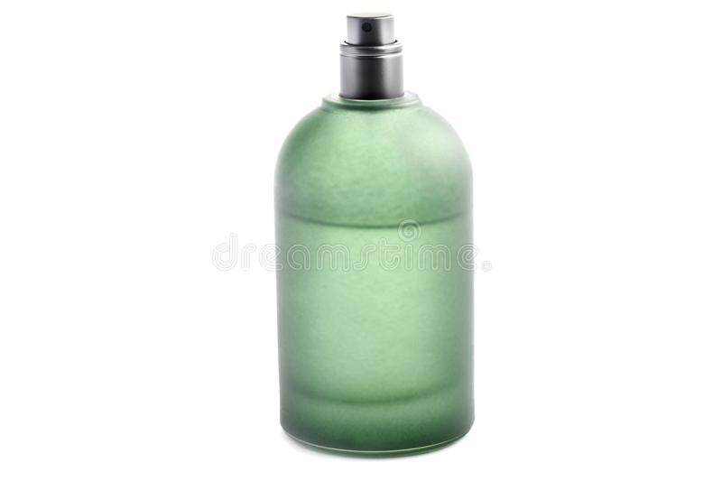 Green bottle of perfume isolated on white background royalty free stock photos