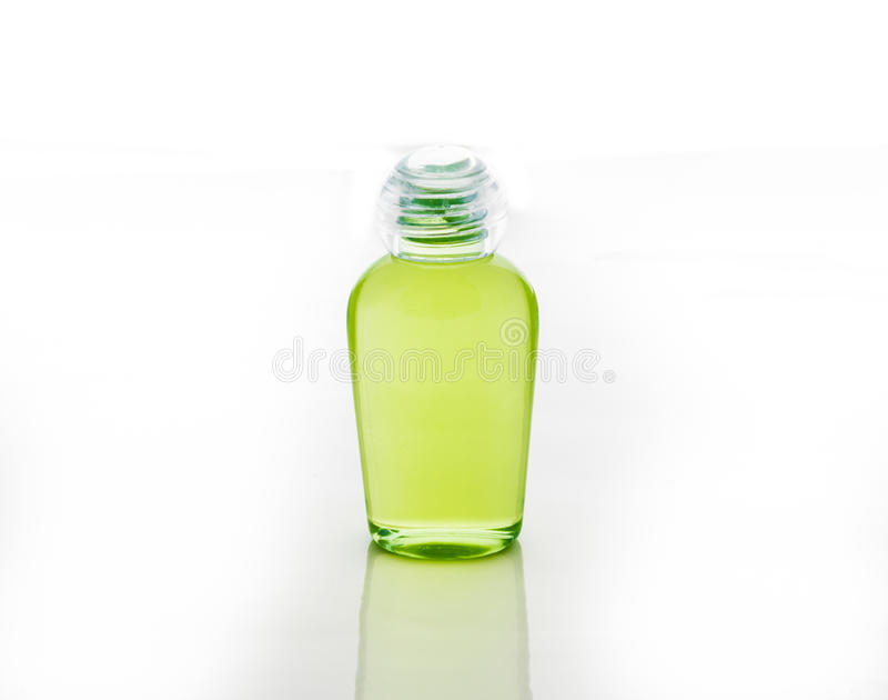 Green bottle of shampoo, gel, soap royalty free stock photos