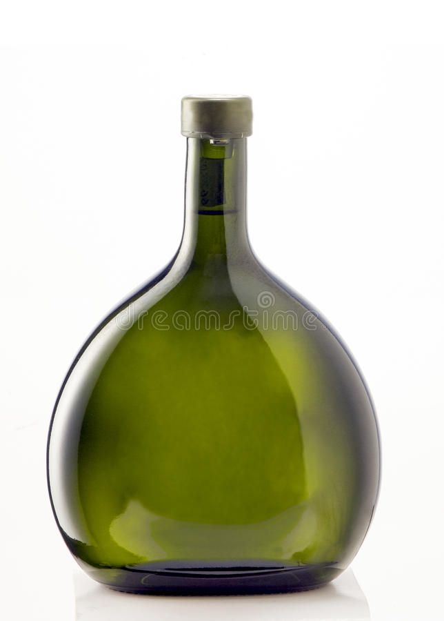 Green bottle and white background royalty free stock image