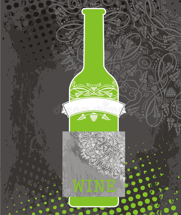 Green bottle of wine and gray label vector illustration