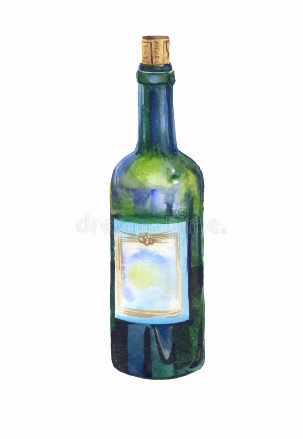 Green bottle of wine watercolor stock illustration