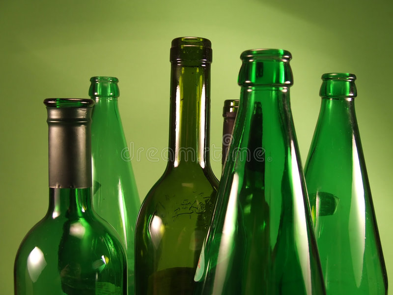 Green bottles 1 royalty free stock images