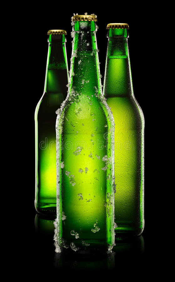 Green Bottles of beer. Three green wet bottles of beer on black background stock photography