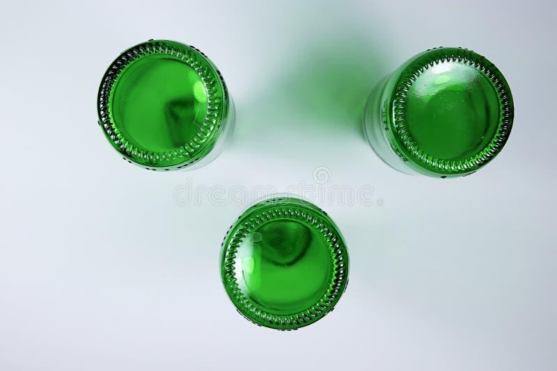 Green bottles stock images