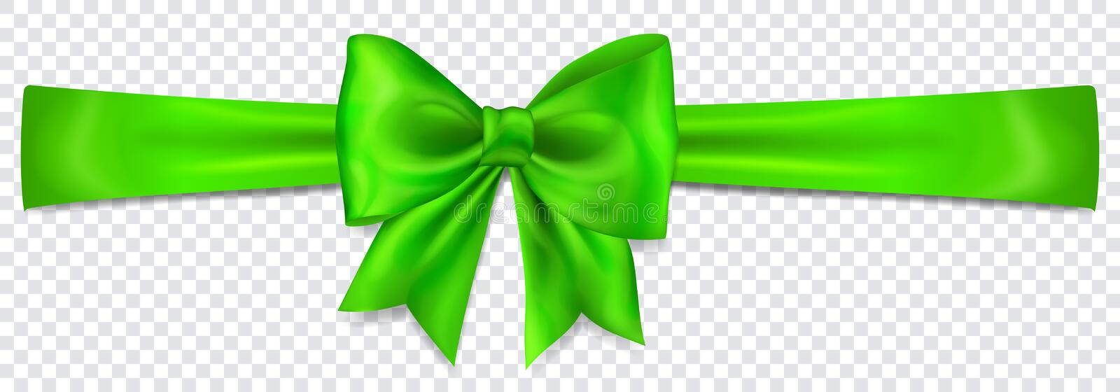 Green bow with horizontal ribbon. Beautiful green bow with horizontal ribbon with shadow on transparent background vector illustration