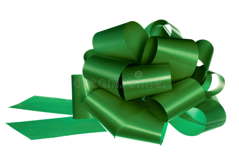 Green bow isolated on white stock photography