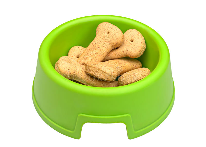 Green bowl of bone-shaped dog biscuits stock images