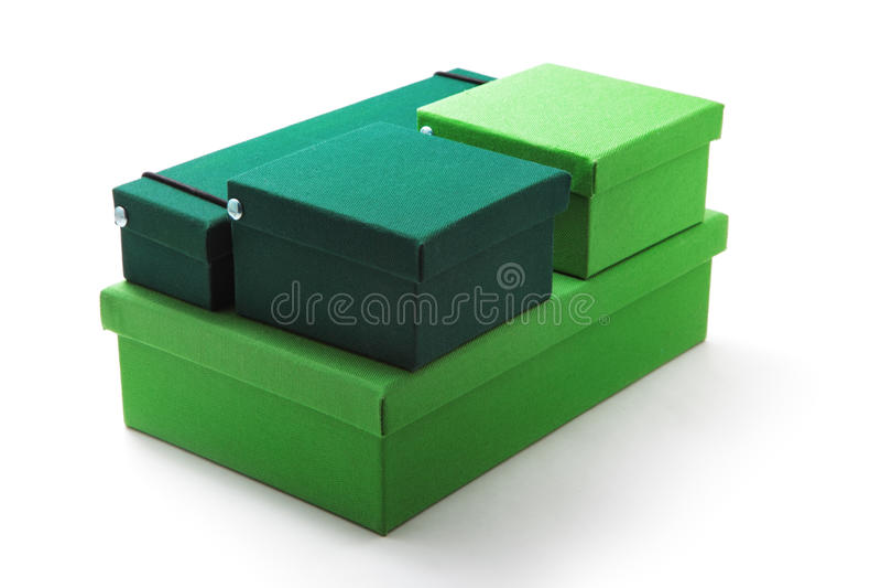 Green boxes royalty free stock photos