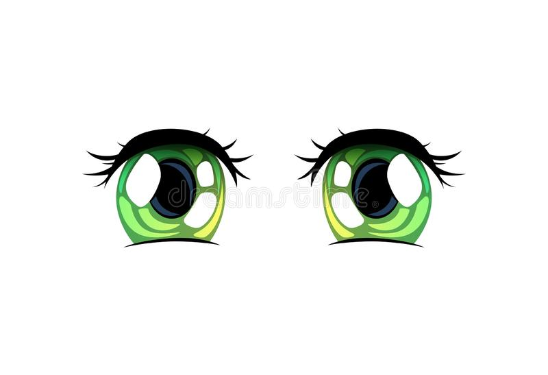 Green Bright Eyes, Beautiful Eyes with Light Reflections Manga Japanese Style Vector Illustration. On White Background vector illustration