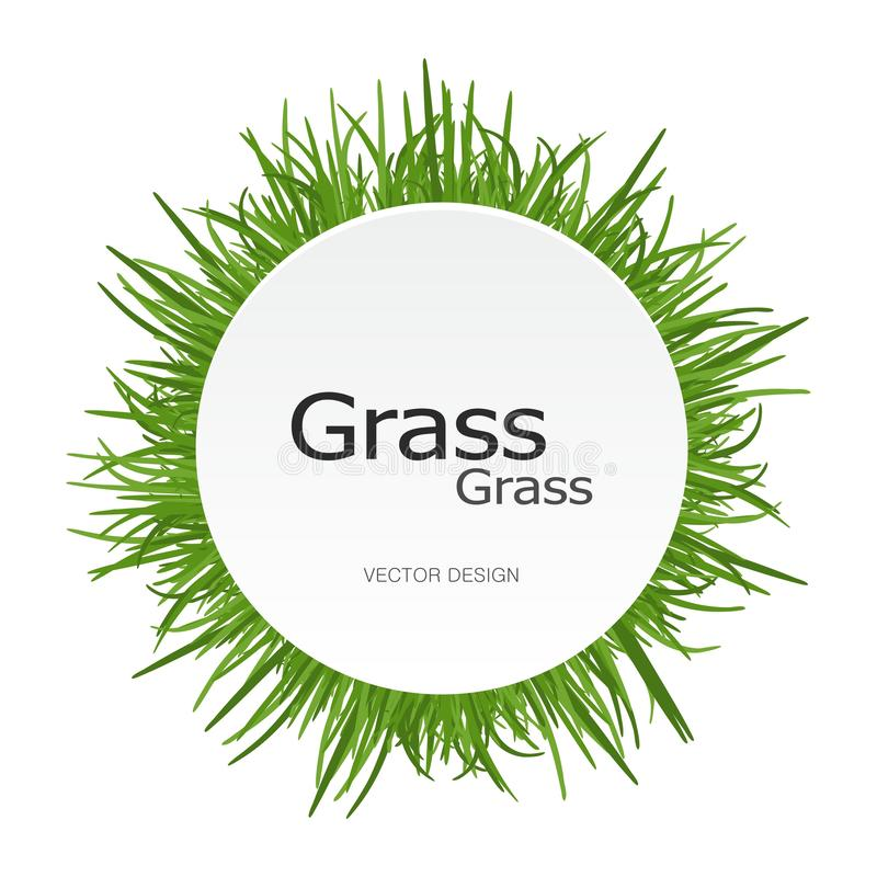 Green bright Grass round frame. Circle label for design of eco banner card advertising and marketing concept. royalty free illustration