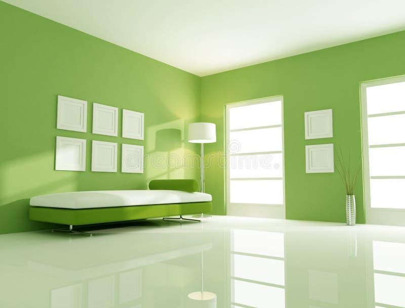 Green bright room vector illustration