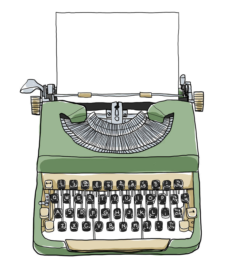Green british typewriter with paper cute illustration stock illustration