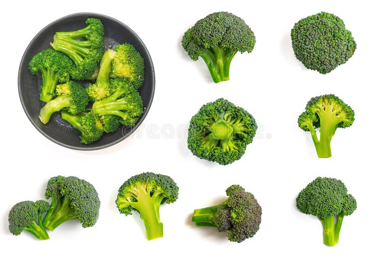 Green broccoli pattern food. Isolated vegetable on white background. Top view stock photos