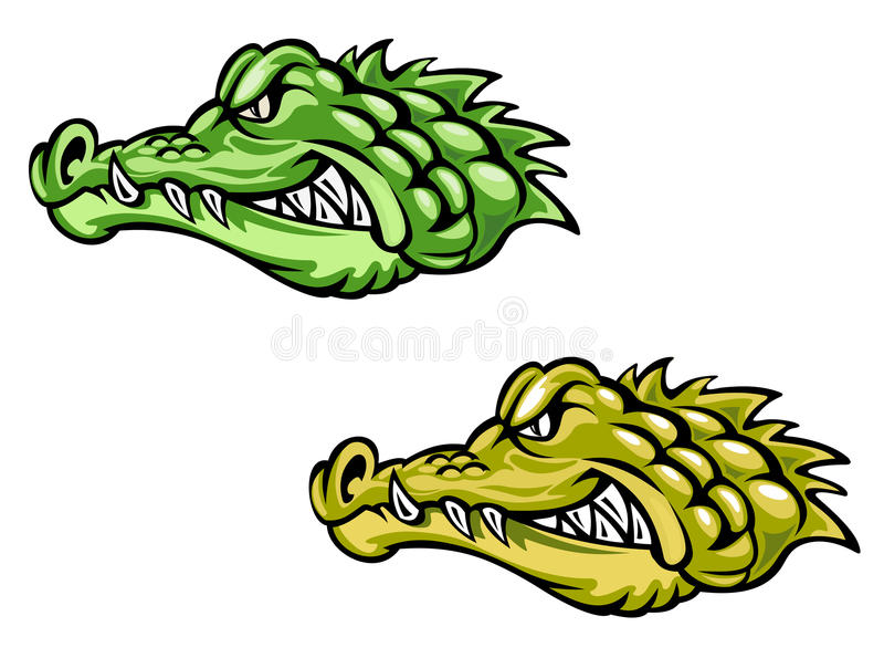 Green and brown crocodiles royalty free illustration