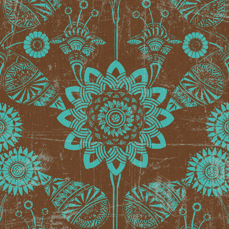 Green and brown floral background royalty free illustration