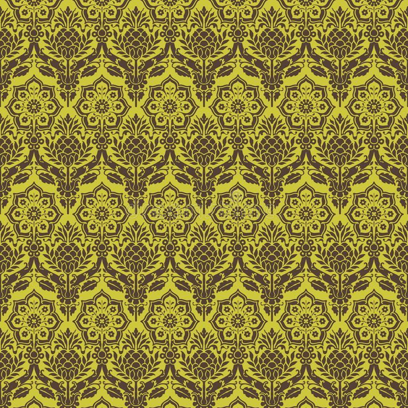 Download Green Brown Floral Damask Seamless Pattern Stock Illustration - Image: 16310492