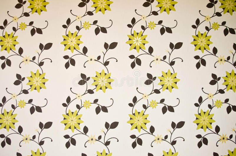 Green and brown floral wallpaper. Background stock photography