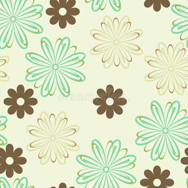 Green and brown flowers vector illustration