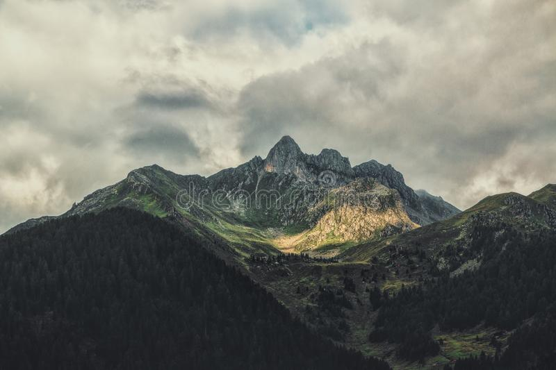 Green and Brown Mountain at Daytime stock images