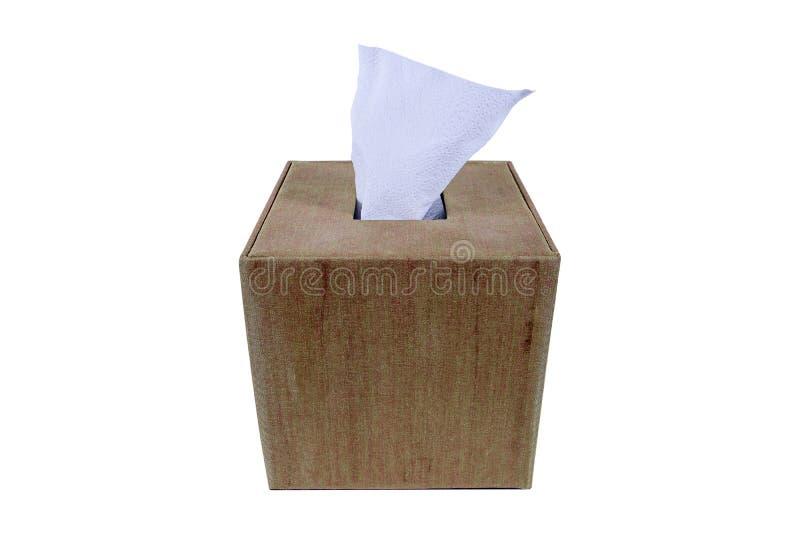 Cloth tissue box Isolated On White Background. Fabric tissue box holder isolated royalty free stock images