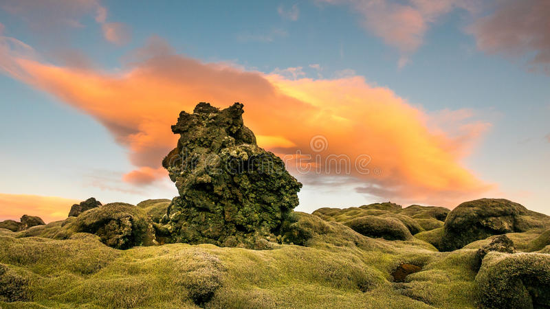 Green Brown Stone during Sunset stock images