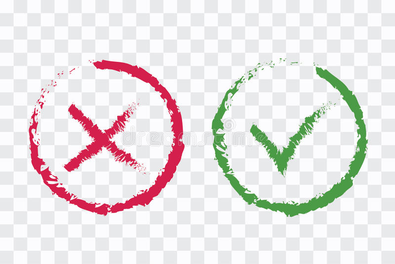 Green Brushed Checkmark Ok And Red X Icons Isolated On White Ba