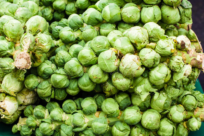 Green brussel sprouts at the market royalty free stock images