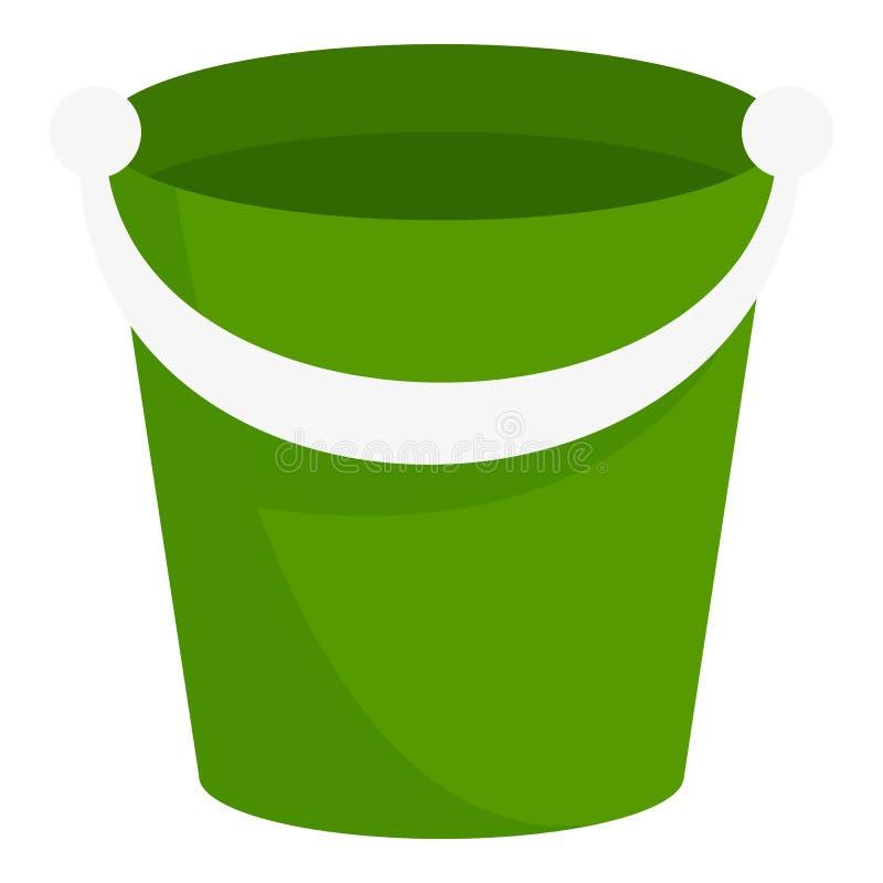 Green bucket icon, flat style. Green bucket icon. Flat illustration of green bucket vector icon for web design stock illustration