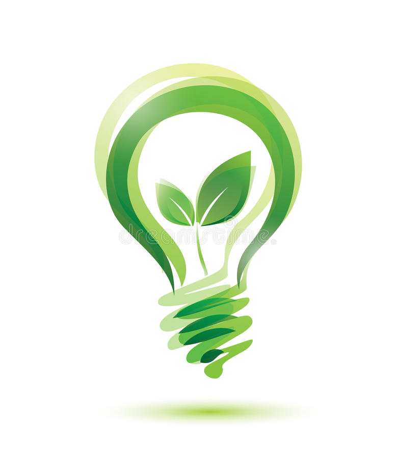 Green bulb. Green eco energy concept, plant growing inside the light bulb vector illustration