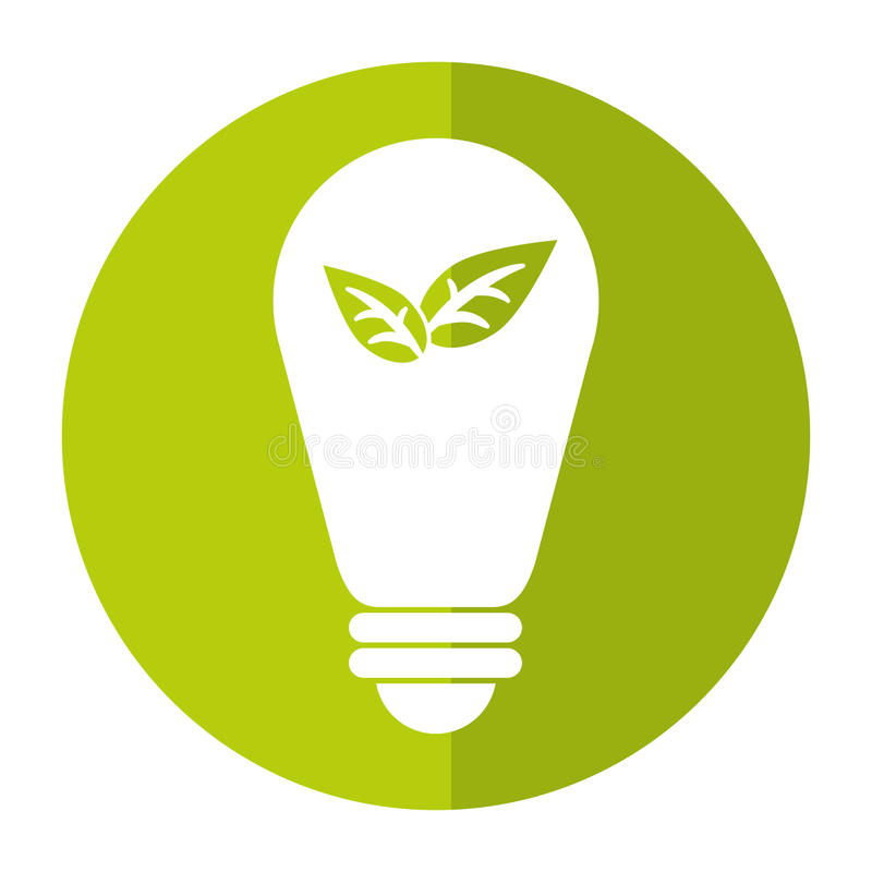 Green bulb environment ecological energy leaf shadow. Vector illustration eps 10 royalty free illustration