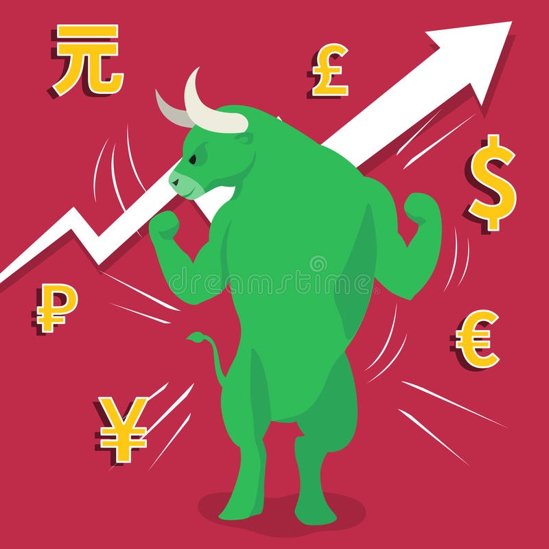 Green bull market presents uptrend stock market concept. With up arrow and currency on red background royalty free illustration