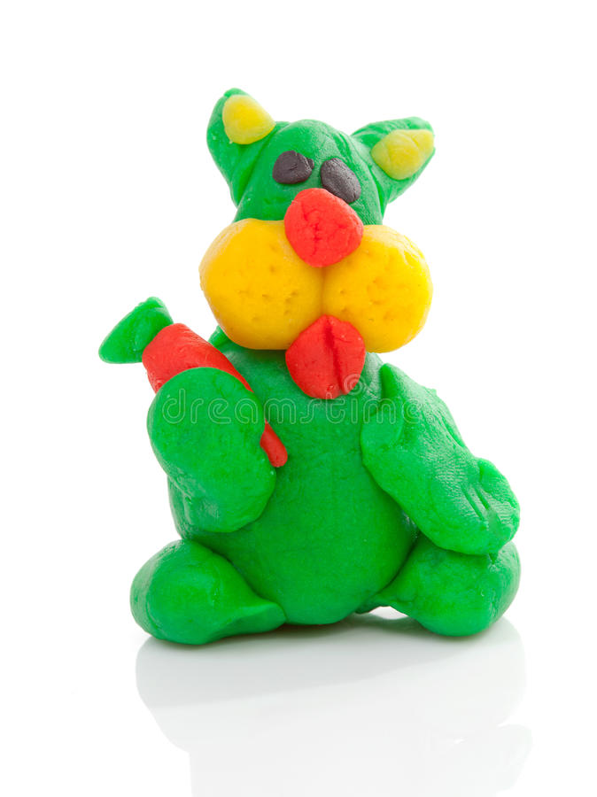 Green bunny clay modeling. Over white background stock image