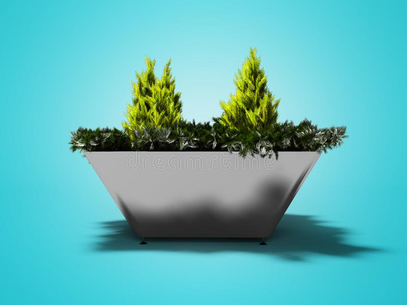 Green bush in metal pot with legs for urban landscaping 3d render on blue background with shadow. Green bush in metal pot with legs for urban landscaping 3d vector illustration
