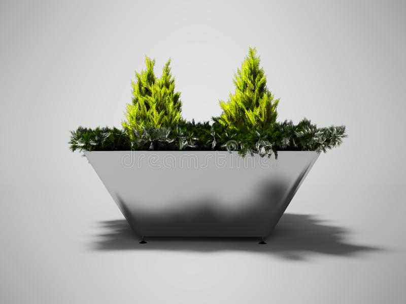 Green bush in metal pot with legs for urban landscaping 3d render on gray background with shadow. Green bush in metal pot with legs for urban landscaping 3d stock illustration
