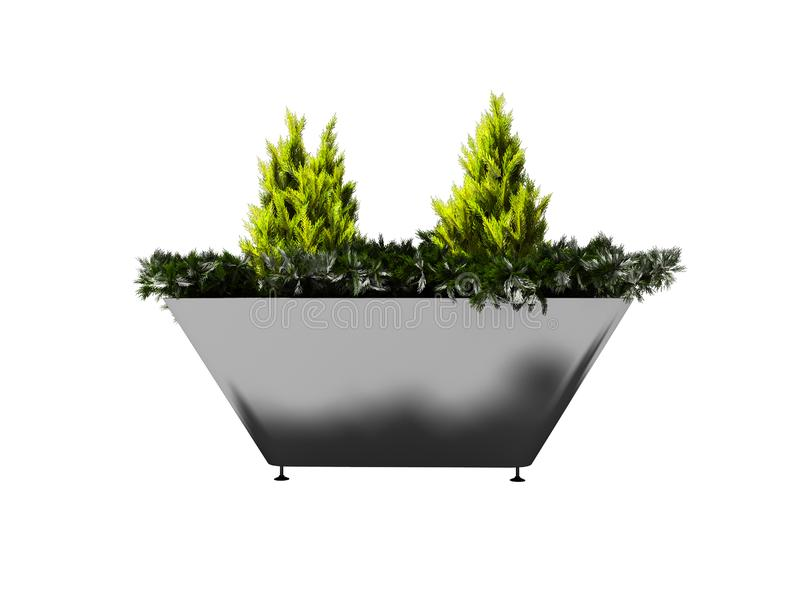 Green bush in metal pot with legs for urban landscaping 3d render on white background no shadow. Green bush in metal pot with legs for urban landscaping 3d royalty free illustration
