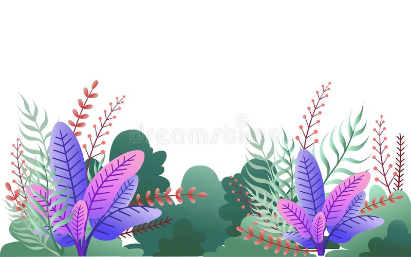Green bushes and purple leaves. Floral garden illustration. Flat vector on white background vector illustration