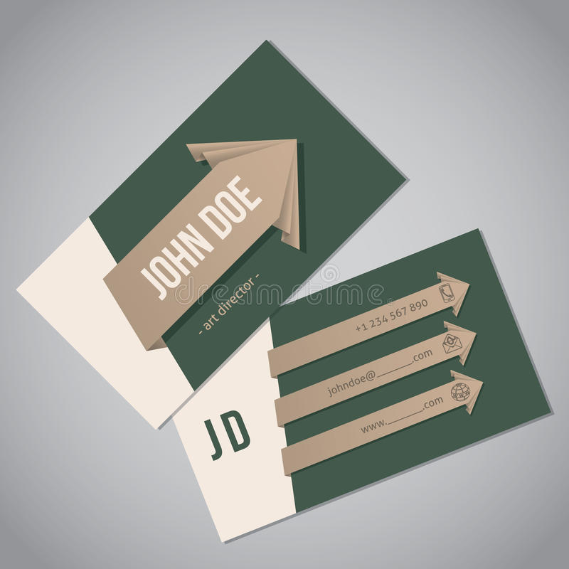 Green business card with arrow ribbons royalty free illustration